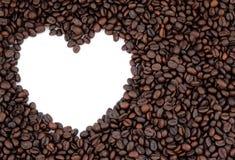 Herzkaffeerahmen Stockfoto