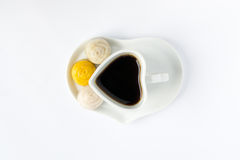 HerzKaffeetasse mit Nachtisch Stockbild