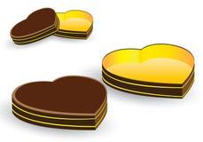 Herzkasten und helles Geschenk lokalisiert auf weißem Hintergrund Valentinsgrußes und Hochzeitstag in Feiertage Vektor-braune Her Lizenzfreies Stockfoto