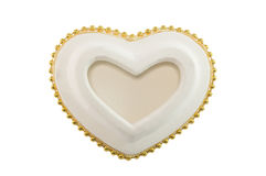 Herzkeramisches lokalisiert auf Weiß Stockfotografie