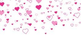 Herzkonfettis, die unten lokalisiert fallen Roter heart-shaped Schmucksachegeschenkkasten und eine rote Spule auf einem Zeichen H vektor abbildung