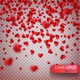 Herzkonfettis von den Valentinsgrußblumenblättern, die auf transparenten Hintergrund fallen Valentinsgruß-Tageshintergrund des ro lizenzfreie abbildung