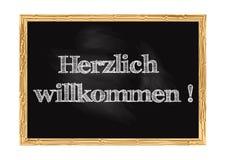 Herzlich willkommen -在德国黑板通知传染媒介例证的欢迎 皇族释放例证