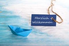 Herzlich Willkommen Label Stock Photo