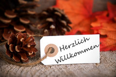 Herzlich Willkommen sull'etichetta di caduta Immagine Stock