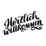 Herzlich willkommen. Welcome. Traditional German Oktoberfest bier festival . Vector hand-drawn brush lettering. Illustration isolated on white Royalty Free Stock Photography