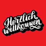 Herzlich willkommen. Welcome. Traditional German Oktoberfest bier festival . Vector hand-drawn brush lettering illustration on red. Background with volume 3D Stock Image