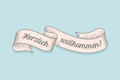 Herzlich Wllkommen, old school vintage ribbon royalty free illustration