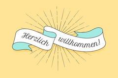 Herzlich Wllkommen, oud school uitstekend lint royalty-vrije illustratie