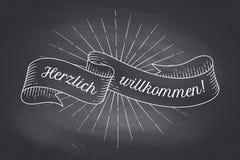 Herzlich Wllkommen, tappningband för gammal skola royaltyfri illustrationer