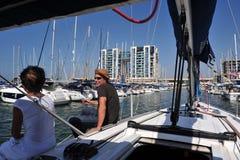 Herzliya Pituah - Israel. HERZLIYA,ISR- OCT 06:Sailing yacht in Herzliya Marina on Oct 06 2009.It's the largest marina in Israel, provides moorings for yachts of stock photo