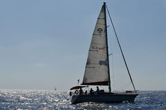 Herzliya Pituah - Israel. HERZLIYA,ISR- OCT 06:Sailng yacht in Herzliya Marina on Oct 06 2009.It's the largest marina in Israel, provides moorings for yachts of royalty free stock image
