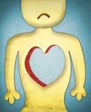 Herzloses trauriges Zeichen lizenzfreie abbildung
