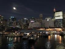 Herzmuschel-Bucht, Sydney, Australien nachts Lizenzfreies Stockbild
