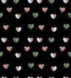 Herzmuster auf schwarzem Farbhintergrund Stockfotografie