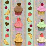 Herzmuster Erdbeer-Cherry Orange-kleiner Kuchen Vektor Lizenzfreies Stockbild