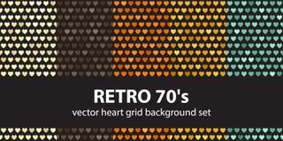 Herzmuster gesetztes Retro- 70 ` s Stockfoto
