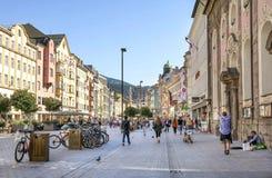 Herzog-Friedrich Street view, Innsbruck, Austria Royalty Free Stock Photos