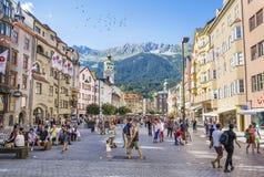 Herzog-Friedrich Street view, Innsbruck, Austria Stock Photography