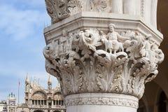 Herzogliches der Palast-Venedig-Detail des Dogen eines Kapitals Lizenzfreies Stockfoto