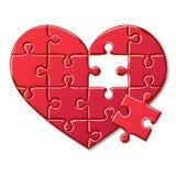 Herzpuzzlespiel lokalisiert auf weißem Hintergrund Stockfotos