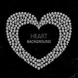 Herzrahmen gemacht von den Diamanten oder von den Bergkristallen Lizenzfreie Stockbilder