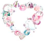 Herzrahmen von den rosa Sachen des Einhorns und der Mädchen Gezeichnete Illustration des Aquarells Hand vektor abbildung