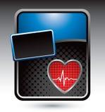 Herzschlag auf blauer stilisiert Reklameanzeige Lizenzfreies Stockfoto