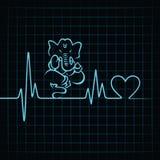 Herzschlag machen ein Lordganesha und -herzsymbol vektor abbildung