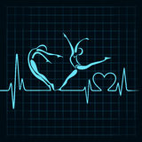Herzschlag machen ein Yogamädchen- und -herzsymbol Stockfoto