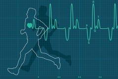 Herzschlagelektrokardiogramm und Betriebmann Lizenzfreies Stockfoto