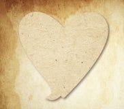 Herzspracheblase mit Schatten auf brauner Weinlese Lizenzfreie Stockfotografie