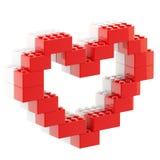 Herzsymbol gemacht von den Spielzeugziegelsteinen Stockfotos