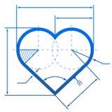 Herzsymbol mit Maßlinien Stockfotografie