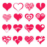 Herzvalentinsgruß-Ikonensatz Stockfotos