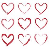 Herzvalentinsgrußzeichnungen eingestellt Stockfotos