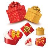 Herzvalentinstag, der vom Geschenkboxsatz herauskommt Lizenzfreies Stockfoto