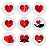 Herzvektorikone, die Liebe, Zusammengehörigkeit, Romance, passio anzeigt Lizenzfreies Stockbild