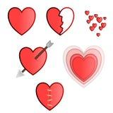 Herzvektorsatz mit vielen verschiedenen Arten Stockfotos
