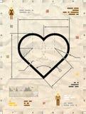 Herzzeichen als technische Planzeichnung Stockfoto