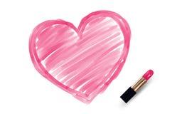 Herzzeichnung von der Lippenstiftrosafarbe Lizenzfreie Stockbilder