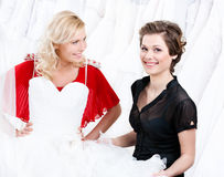 Hesitating about the wedding gown Royalty Free Stock Images