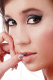 Hesitation. Close-up portrait of pretty girl with hesitative expression Stock Images