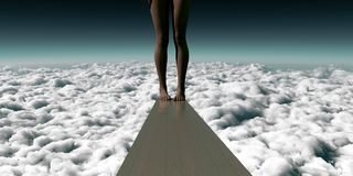 Fear and Peace. Hesitation in the face of adversity on a ledge or diving board in the sky stock illustration