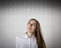 Hesitation. Question concept. Stock Photo