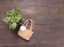 Heska workowa torba z etykietką i flowerpot jesteśmy na drewnianym backgr Obrazy Royalty Free
