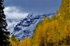 Hesperus Cloud Cameo; Autumn Gold and Mountain Blues. San Juan Mountains, La Platas. Near Mancos, Cortez, Mesa Verde National Park and Durango, Colorado. Mount stock image