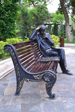 Сhess player. Sculpture of the man who plays chess Stock Photos