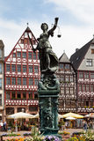 Hesse,Frankfurt,Roemerberg,View of Lady Justice statue a Stock Image