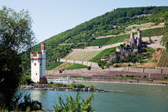 Hesse,Rhineland-Palatinate,View of mouse tower and castl Stock Image